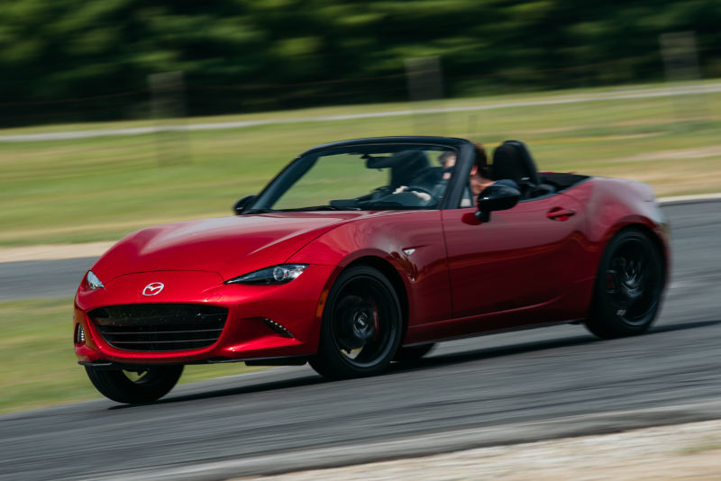A red Mazda MX-5 Miata. A Diminished Value Appraiser in Virginia call 772-359-4300.