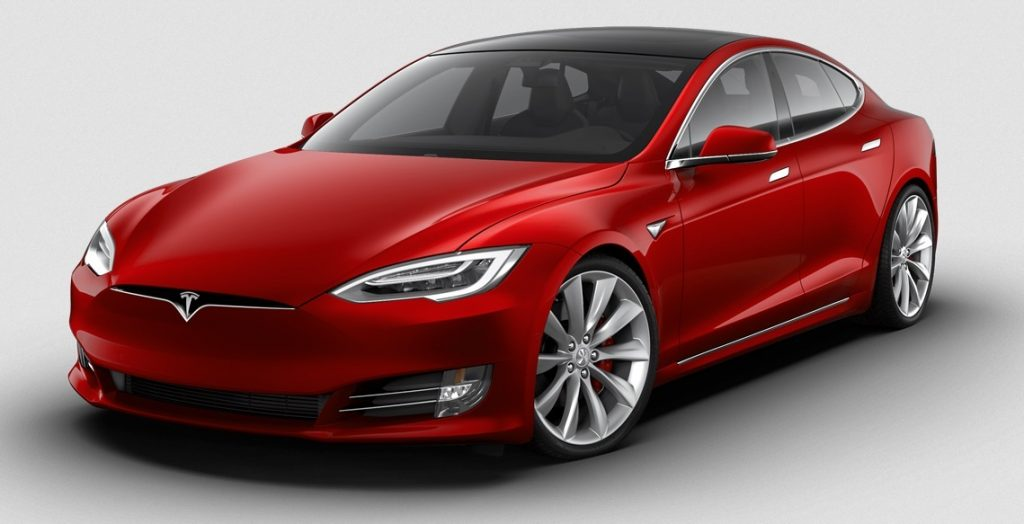 A red Tesla S sedan. A Diminished Value Appraiser in San Jose, California call 772-359-4300.